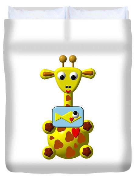 Cute Giraffe With Goldfish Duvet Cover