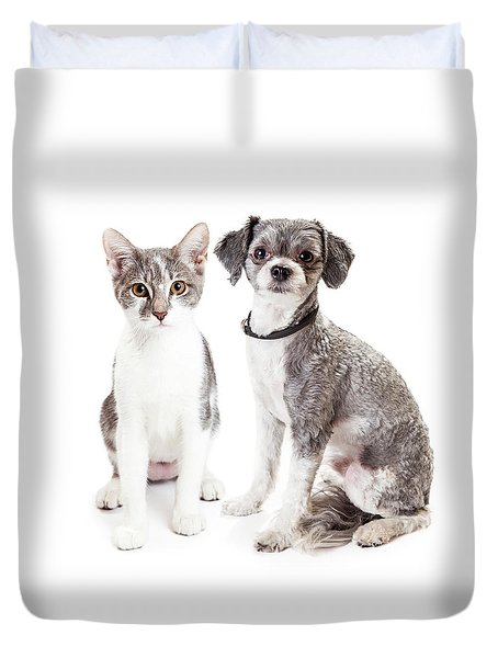 Cute Grey Kitten And Puppy Sitting Together Duvet Cover