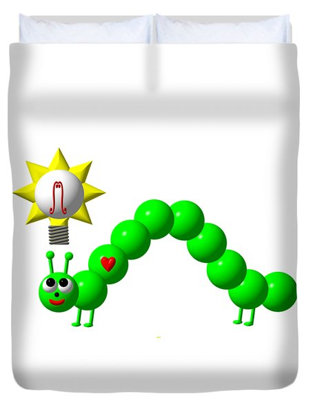 Cute Inchworm With An Idea Duvet Cover by Rose Santuci-Sofranko