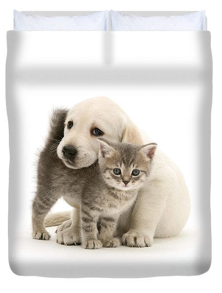 Cute Kitten And Perfect Puppy Duvet Cover