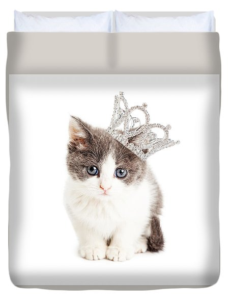 Cute Kitten Wearing Princess Crown Duvet Cover