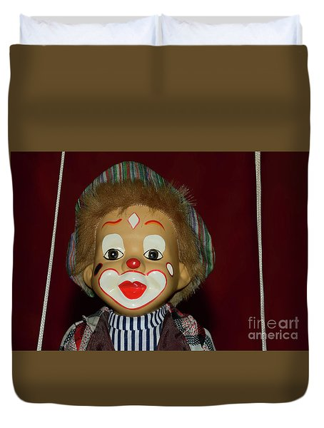 Duvet Cover featuring the photograph Cute Little Clown By Kaye Menner by Kaye Menner
