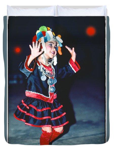 Duvet Cover featuring the photograph Cute Little Thai Girl Dancing by Heiko Koehrer-Wagner