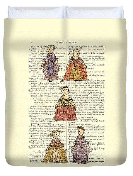 Cute Little Girls Dressed In Victorian Clothes Duvet Cover