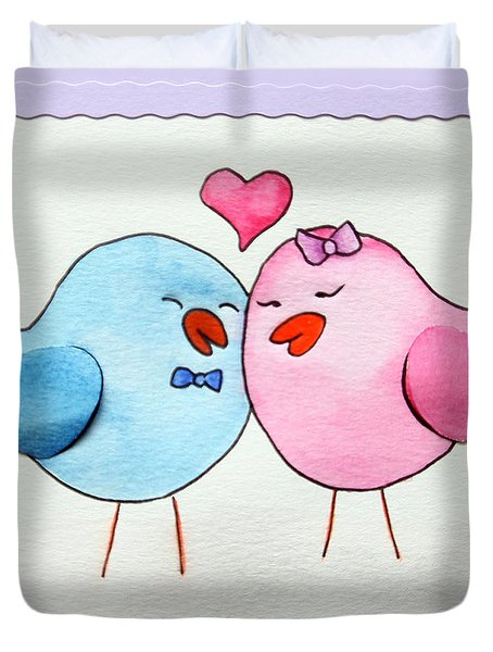 Cute Lovebirds Watercolour Duvet Cover