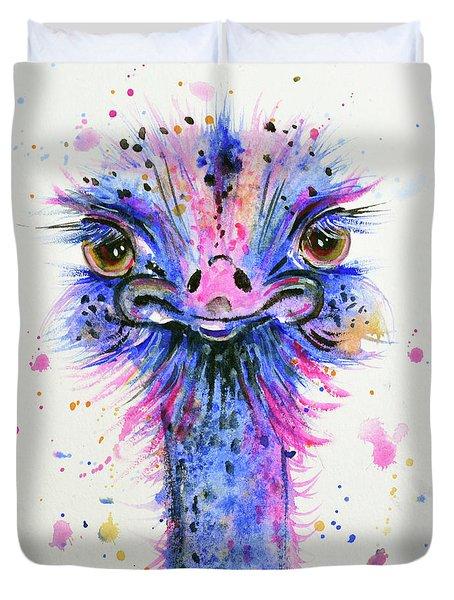 Cute Ostrich Duvet Cover by Zaira Dzhaubaeva