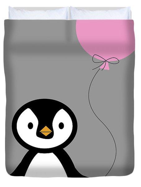 Cute Penguin With Balloon Duvet Cover