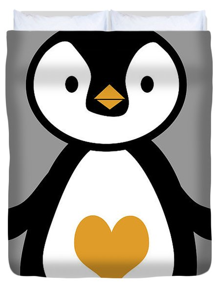 Cute Penguin With Heart Duvet Cover