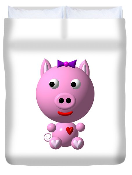 Cute Pink Pig With Purple Bow Duvet Cover
