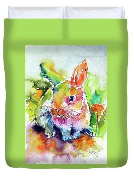 Duvet Cover featuring the painting Cute Rabbit by Kovacs Anna Brigitta