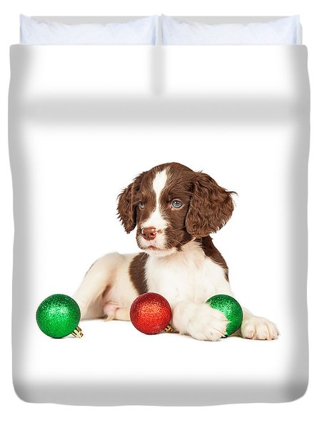 Cute Seven Week Old Puppy With Red And Green Christmas Ornaments Duvet Cover