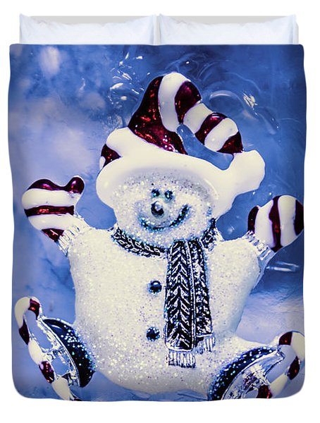Cute Snowman In Ice Skates Duvet Cover