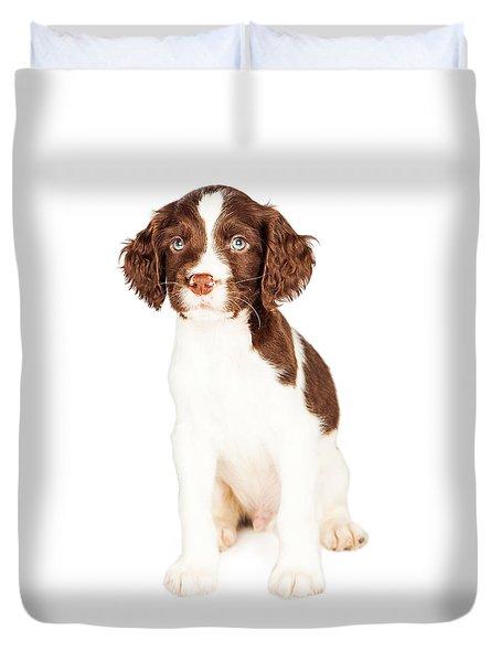Cute Springer Spaniel Puppy Over White Duvet Cover