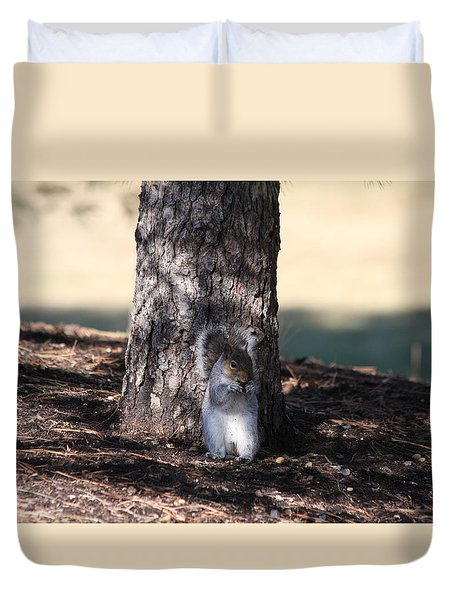 Duvet Cover featuring the photograph Cute Squirrel by Vadim Levin