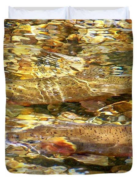 Cutthroat Trout In Clear Mountain Stream Duvet Cover by Greg Hammond