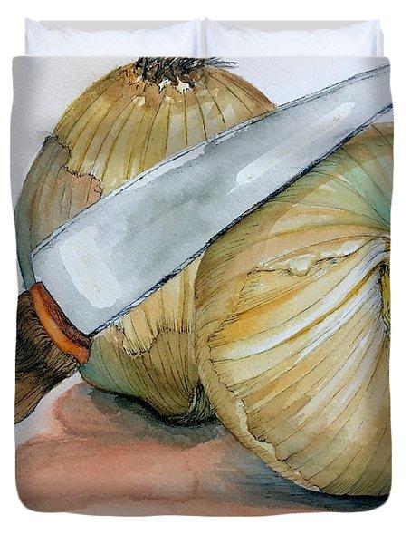 Cutting Onions Duvet Cover
