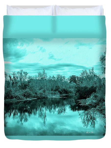 Duvet Cover featuring the photograph Cyan Dreaming - Sarasota Pond by Madeline Ellis