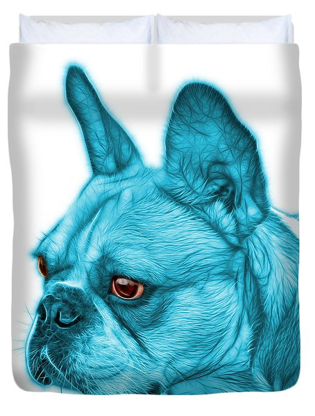 Cyan French Bulldog Pop Art - 0755 Wb Duvet Cover by James Ahn