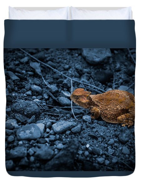 Cyanotype Horned Toad Duvet Cover