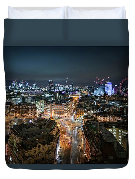Duvet Cover featuring the photograph Cyber City by Stewart Marsden