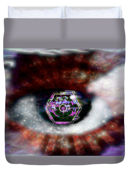 Cyber Oculus Cumulus Duvet Cover by Iowan Stone-Flowers