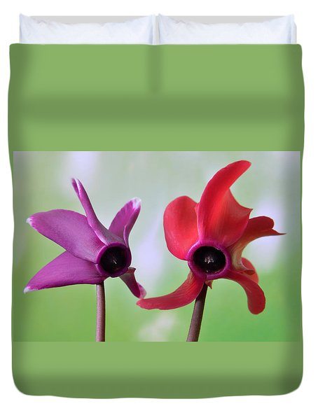 Cyclamen Duet. Duvet Cover