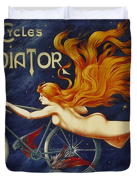 Cycles Gladiator  Vintage Cycling Poster Duvet Cover