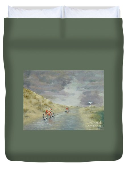 Cycling On Ocracoke Island Duvet Cover