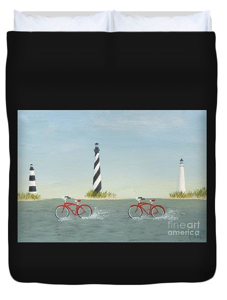 Cycling The Pamlico Sound Duvet Cover
