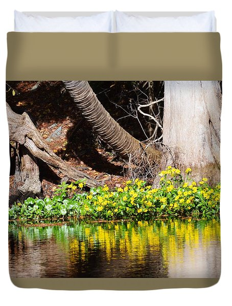 Cypress And Flower Reflections Duvet Cover
