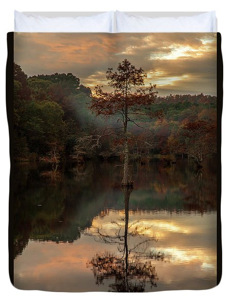 Cypress At Sunset Duvet Cover by Iris Greenwell