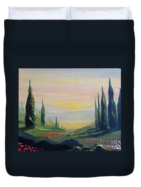 Cypress Dawn Landscape Duvet Cover