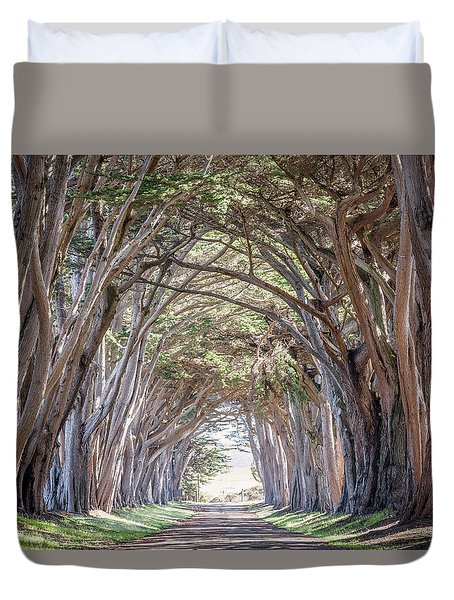 Duvet Cover featuring the photograph Cypress Embrace by Everet Regal