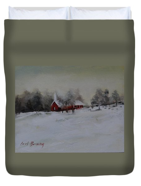 Cypress In The Snow Duvet Cover
