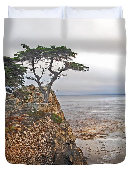 Cypress Tree At Pebble Beach Duvet Cover