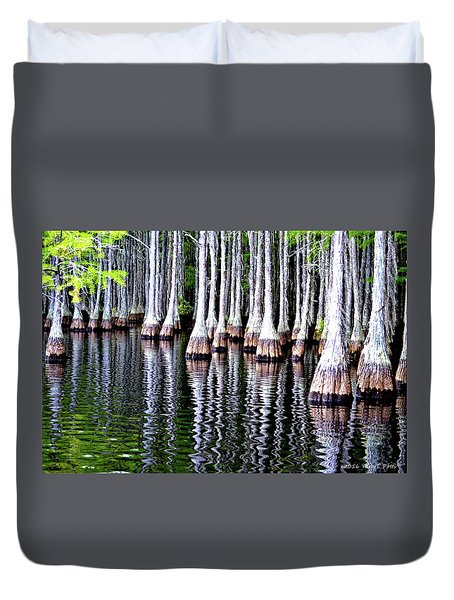 Cypress Tree Reflection Duvet Cover