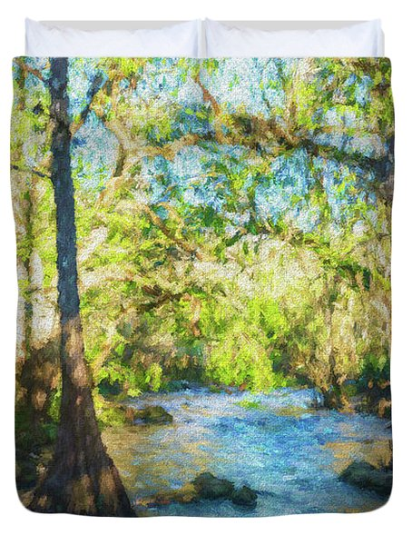 Cypress Trees On The River Duvet Cover
