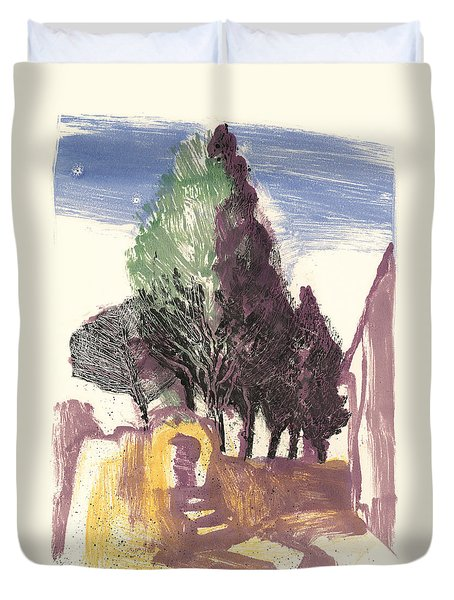 Duvet Cover featuring the painting Cypresses Bonnieux by Martin Stankewitz