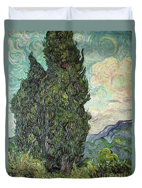 Cypresses Duvet Cover by Vincent Van Gogh