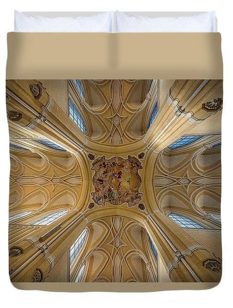 Duvet Cover featuring the photograph Czech Church Ceiling Mural by Stuart Litoff