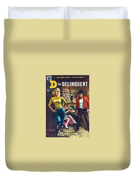 Duvet Cover featuring the painting D For Delinquent by Rudy Nappi