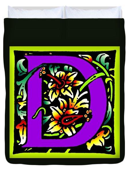 D In Purple Duvet Cover by Kathleen Sepulveda