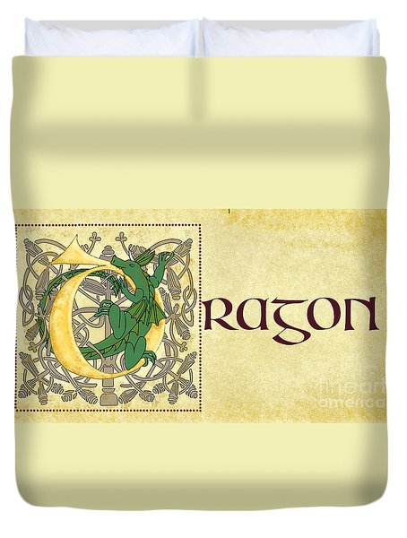 D Is For Dragon Page Gold Duvet Cover