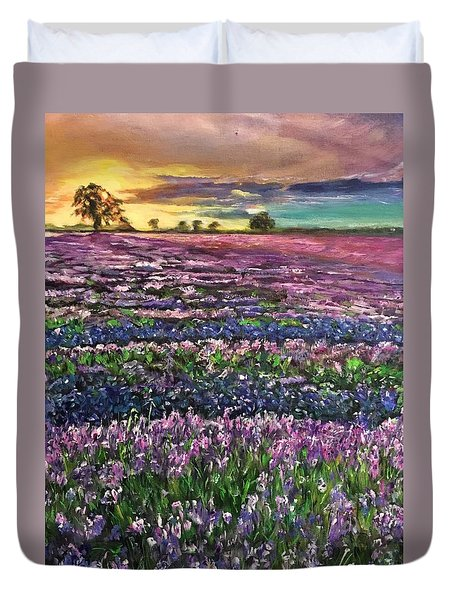 Duvet Cover featuring the painting D R E A M S by Belinda Low