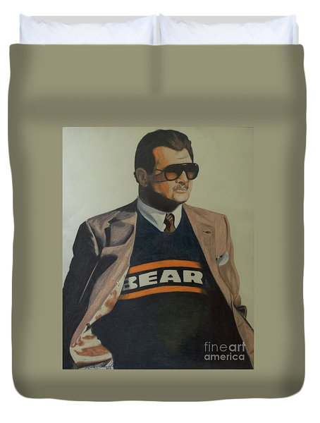 Duvet Cover featuring the drawing Da Coach Ditka by Melissa Goodrich