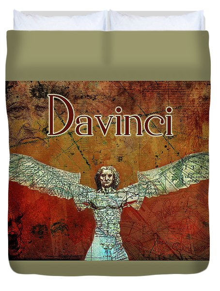 Duvet Cover featuring the digital art da Vinci 2023 by Greg Sharpe