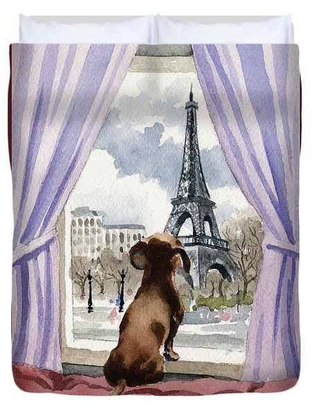 Dachshund In Paris Duvet Cover