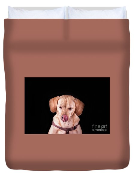 Dachshund Mix Licking Lips Duvet Cover by Stephanie Hayes