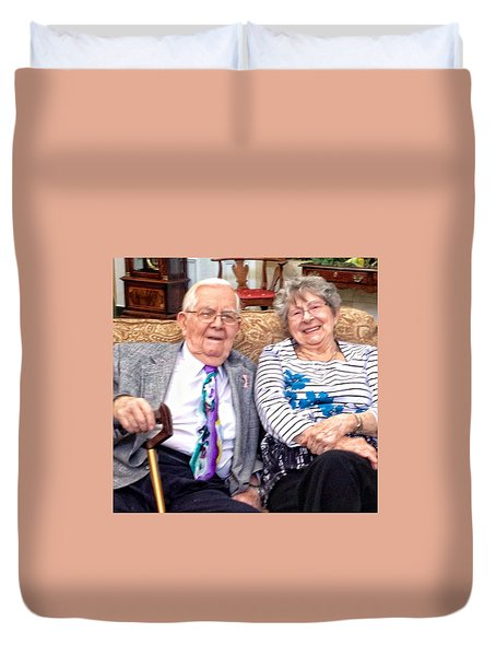 Dad And Joan Duvet Cover by Patricia Greer