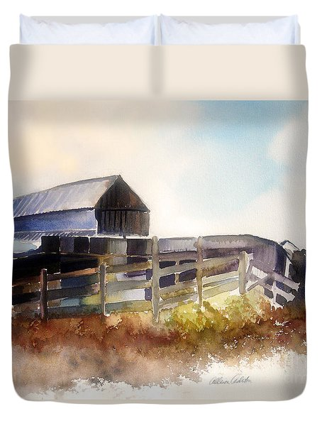 Duvet Cover featuring the painting Dad' Farmhouse by Allison Ashton